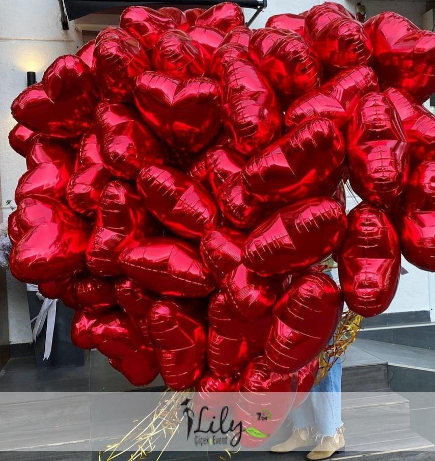 50 adet kalp folyo balon buketi