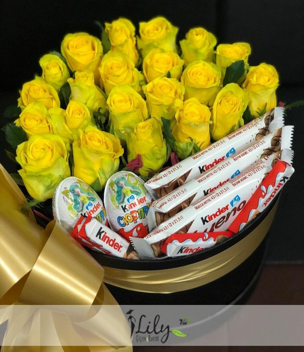 kutuda sarı güller ve kinderler