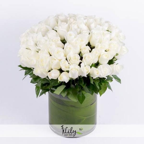 camda 41 adet naturel beyaz güller
