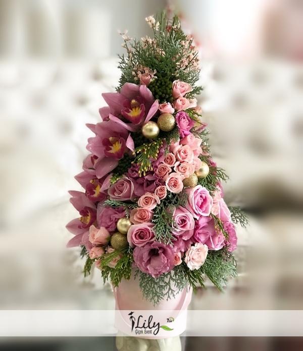 özel pembe gül ve orkide tasarımı