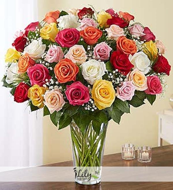 vazoda karısık renklerde güller