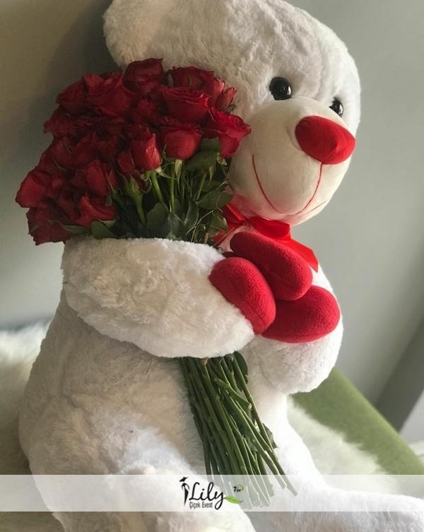 50 cm ayıcık ve kucağında güller