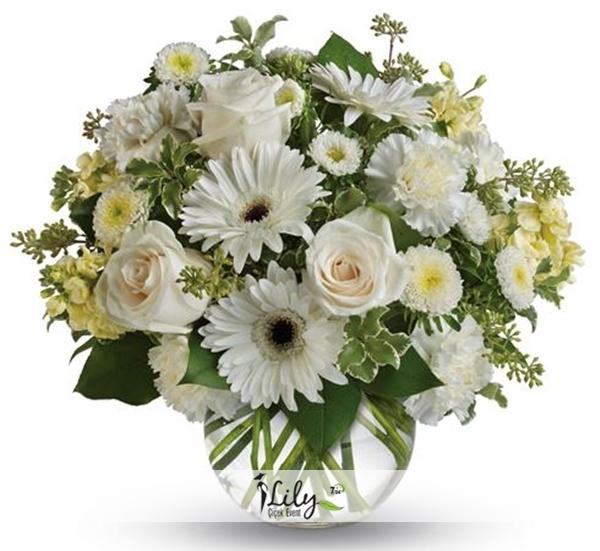 fanusta beyaz mezsim çiçekleri