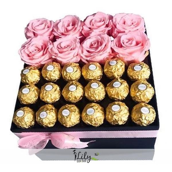 ekvator pembe güller ve çikolatalar