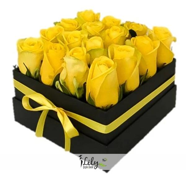 kutuda 16 adet sarı gül