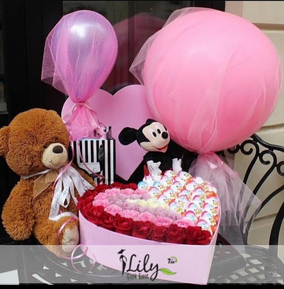 kutuda güller kinderler ayıcık ve balonlar